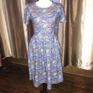 Lularoe Amelia Fit & Flare Floral Dress Pockets M